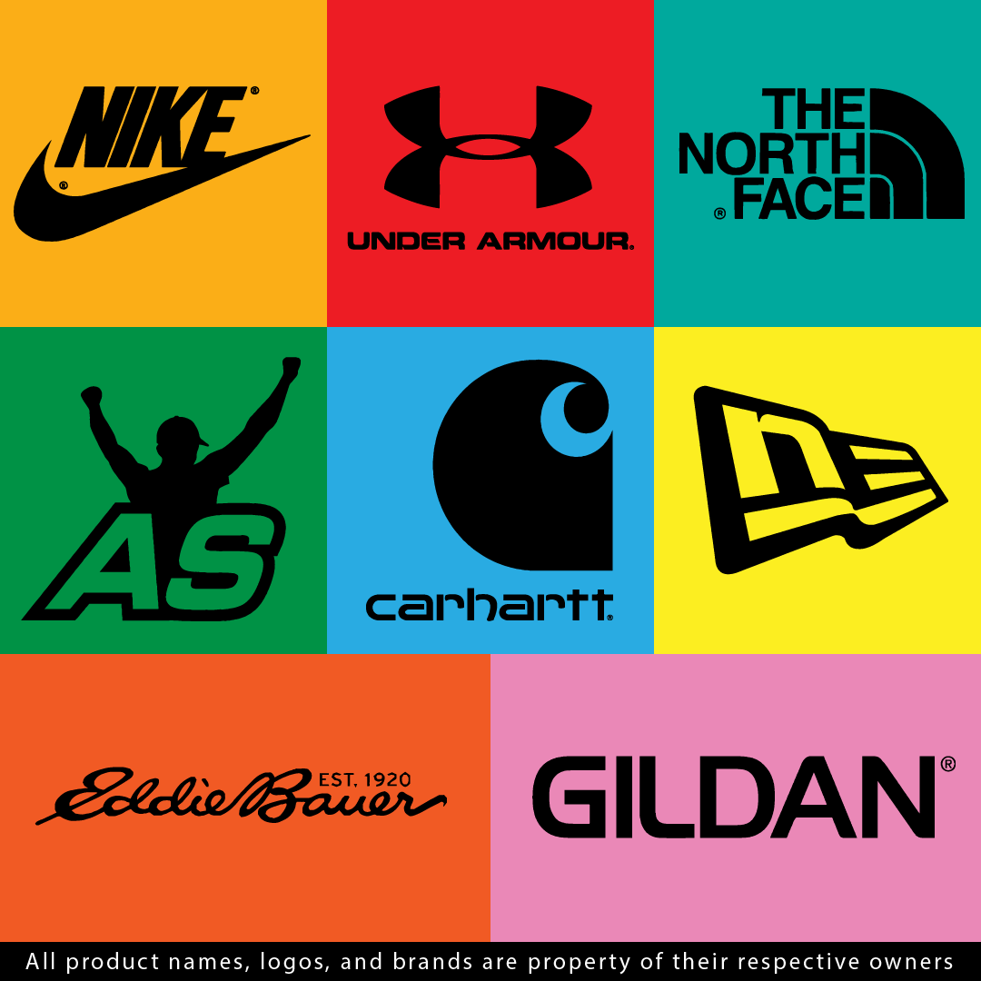 A composite image showing various apparel brands that are available to customize, including Nike, Under Armour, North Face, Atlantic Sportswear, Carhartt, New Era, Eddie Bauer, and Gildan.