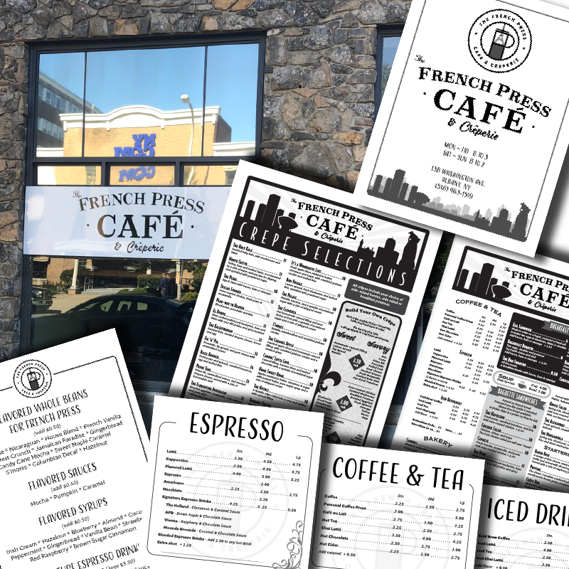 Full service Graphic Design for the French Press Cafe and Creperie