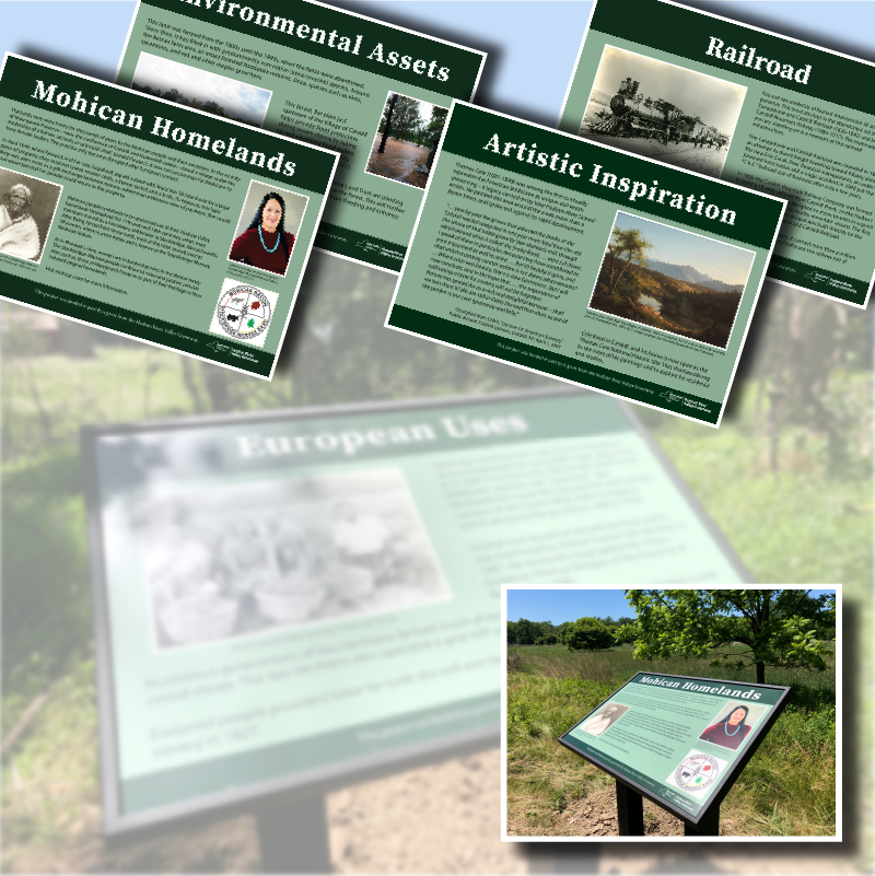 Educational trail signs for Mawignack Preserve in Coxsackie, NY