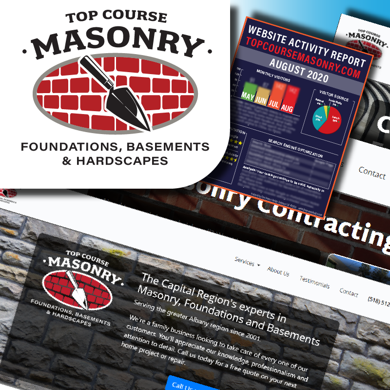 Web site and graphic work for Top Course Masonry